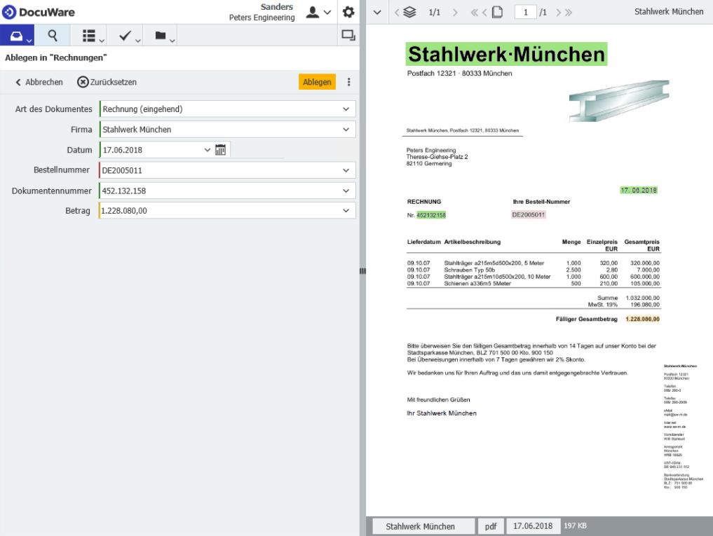 Screenshot Beleg wird von Programm ausgelesen