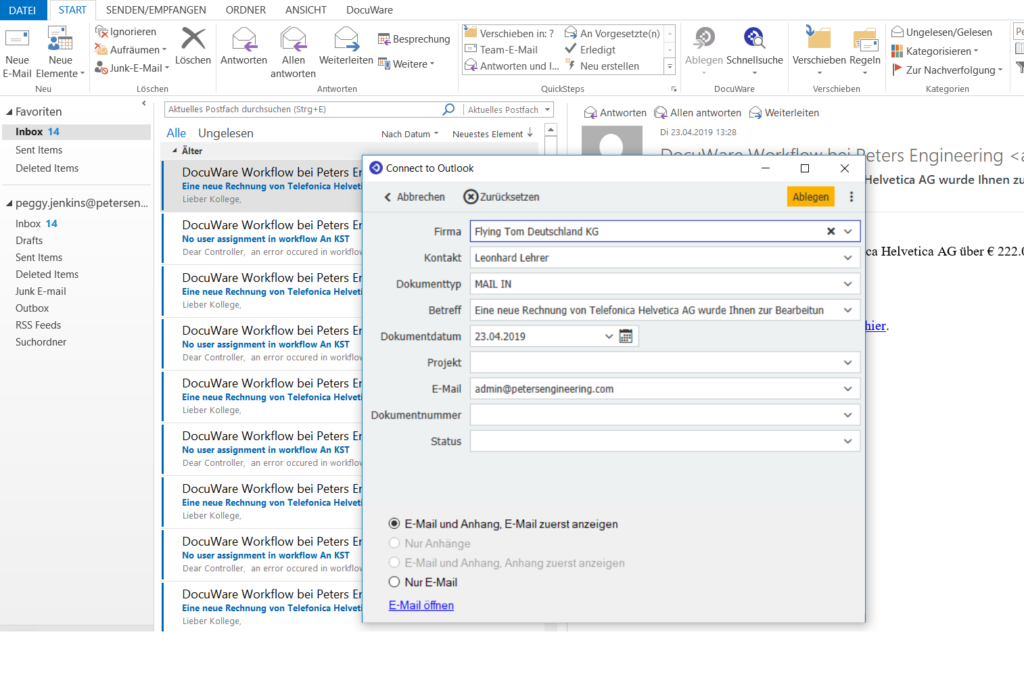 Screenshot Ablagedetails in Outlook