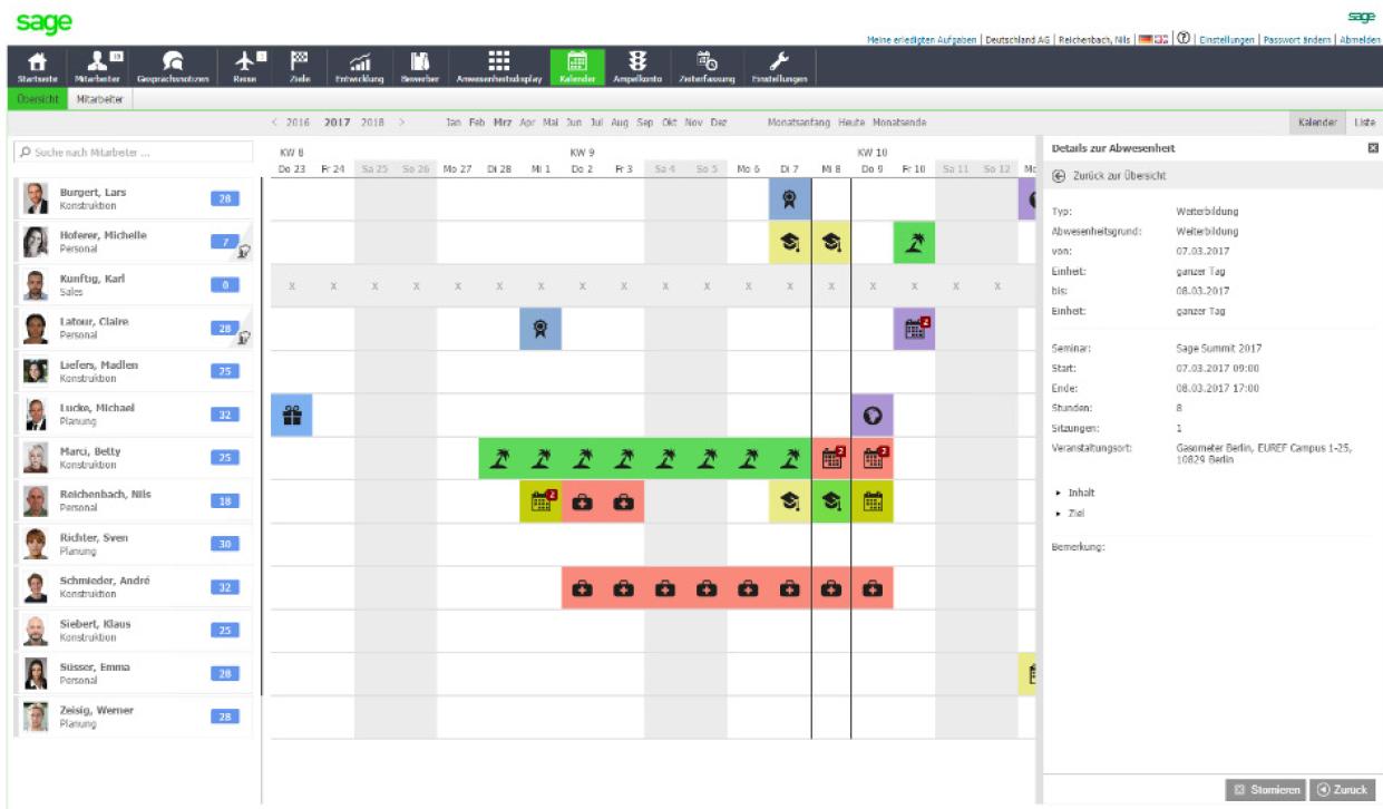 Screenshot Anzeige von Urlaubstagen und Fehlzeiten
