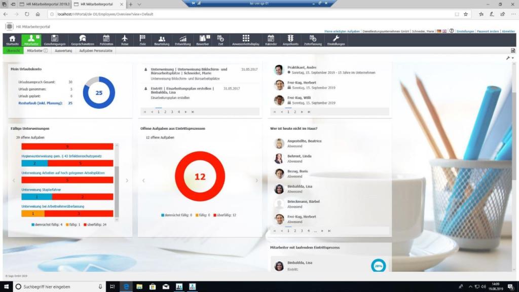 Screenshot HR Übersicht mit Diagrammen