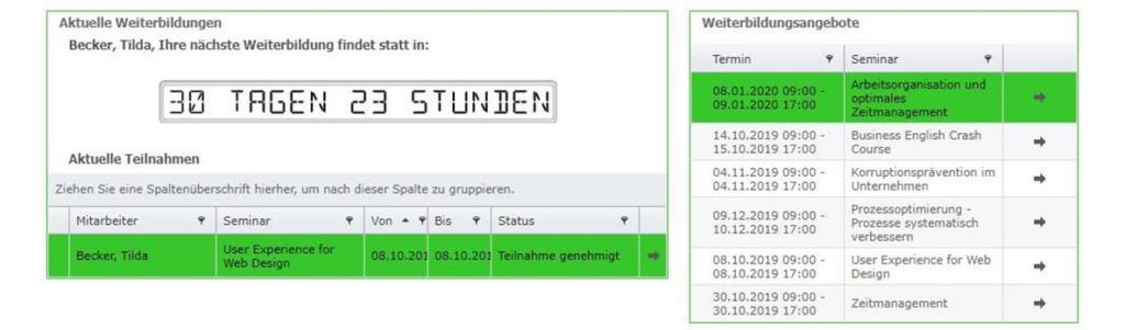 Screenshot Aktuelle Teilnahmen, Weiterbildungsangebote