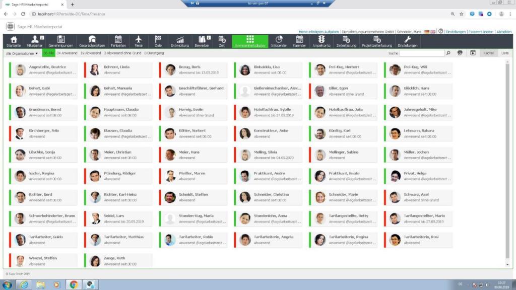 Screenshot Anwesenheit Mitarbeiter