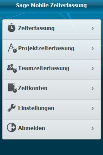 Screenshot mobile Zeiterfassung Hauptmenü